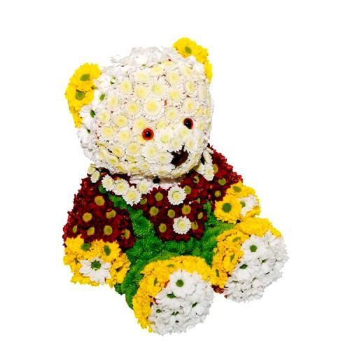 Оригинальный подарок из живых цветов - букет-игрушка