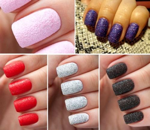 Дизайн ногтей в стиле «бархатный песок»