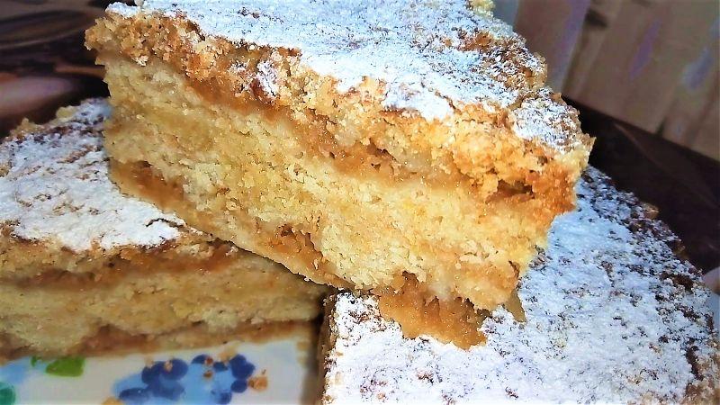 Пирог из сухого теста с дачными яблоками