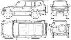Внедорожник схематично: Mitsubishi Pajero